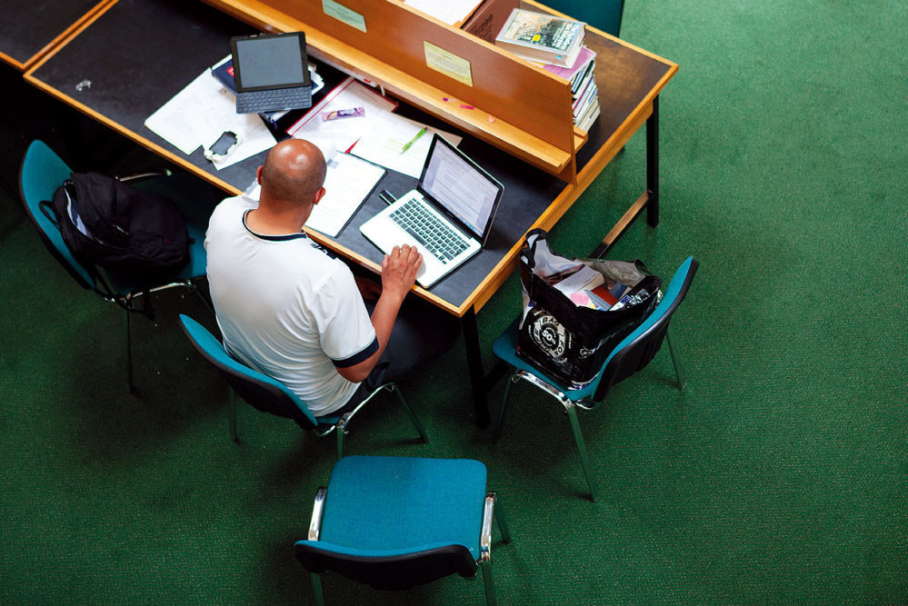 A student at work in the library