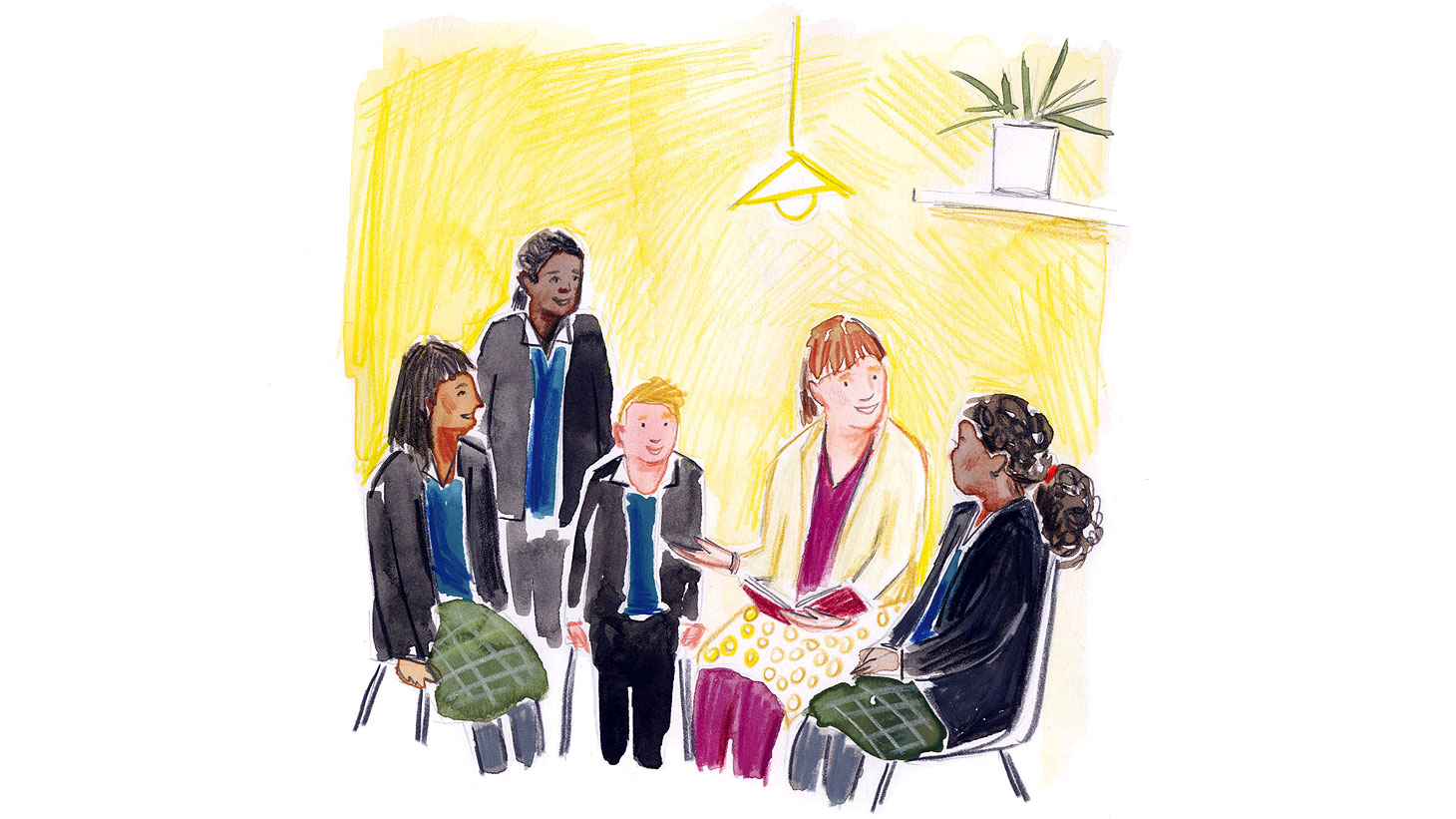 Illustration of schools worker by Elisa Cunningham