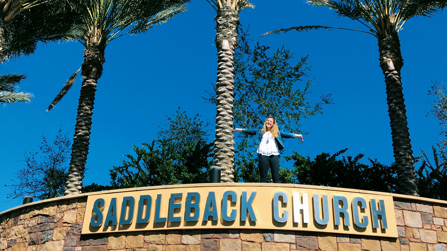 A student outside her placement: Saddleback Church in the US